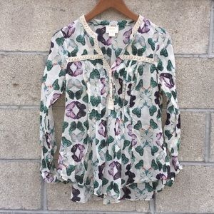 Anthropologie Maeve 0 butterfly blouse